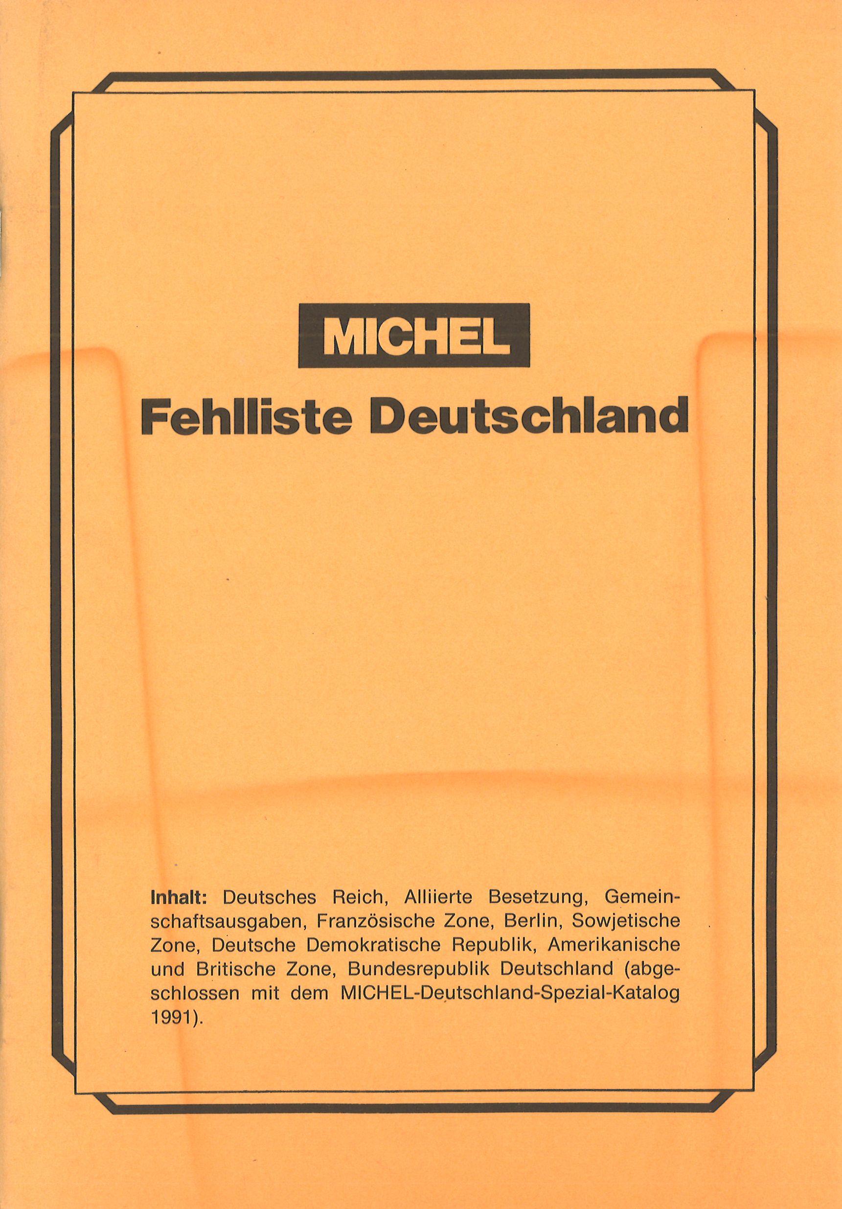 Michel Fehlliste Deutschland Marktplatz Philatelie